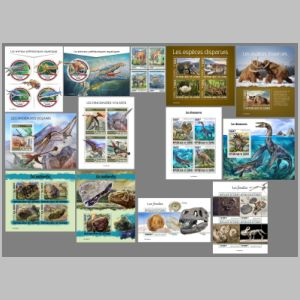 Dinosaurs and other prehistoric animals on stamps of Guinea 2019