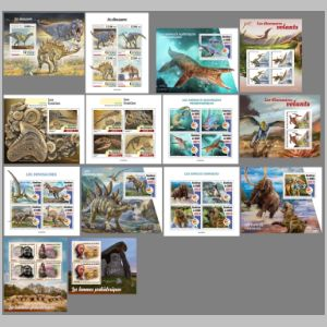 Fossils and reconsructions of prehistoric animals on stamps of Guinea 2020
