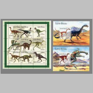 Dinosaurs and other prehistoric animals on stamps of Guinea Bissau 2001