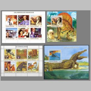 Dinosaurs and other prehistoric animals on stamps of Guinea Bissau 2003