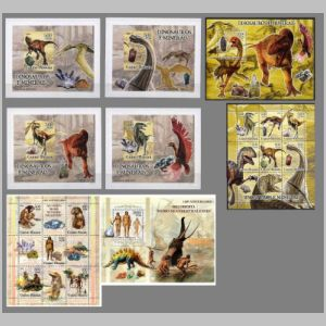 Dinosaurs and other prehistoric animals on stamps of Guinea Bissau 2005