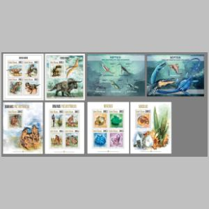 prehistoric marine reptilies on stamps of Guinea Bissau 2013