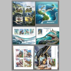 Dinosaurs and other prehistoric animals on stamps of Guinea Bissau 2014
