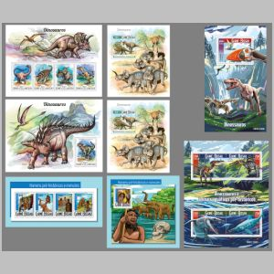 Dinosaurs and other prehistoric animals on stamps of Guinea Bissau 2015