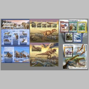 Dinosaurs and other prehistoric animals on stamps of Guinea Bissau 2017