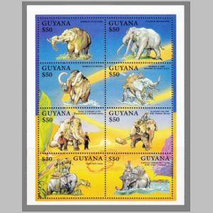 prehistoric and modern elefants on stamps of Guyana 1992