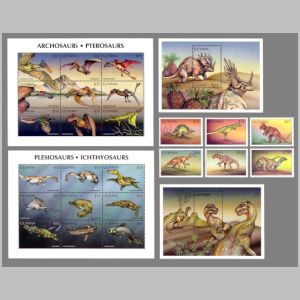 Prehistoric animals on stamps of Guyana 1998