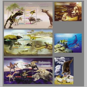 Prehistoric animals on stamps of Guyana 2005