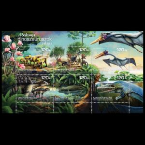 Dinosaurs and other prehistoric animals on stamps of Hungary 2018