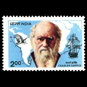 Charles Darwin on stamp of India 1983