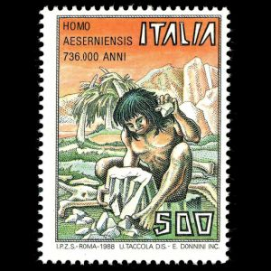 Prehistoric manm Homo Aeserniensis on stamps of Italy 1988