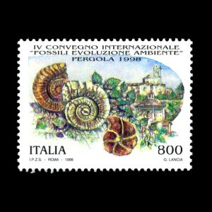 4th Intl. Convention on Fossils, Evolution and Environment on stamp of Italy 1998