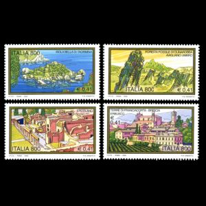 petrified wood, forest, three trunk on tourism stamps of Italy 2000