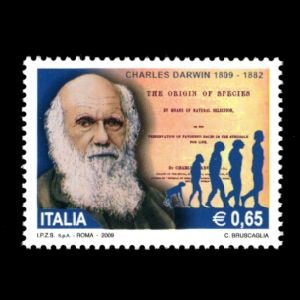 Charles Darwin and human evolution sequence on stamp of Italy 2009