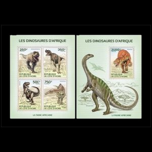 African Dinosaurs on stamps of Ivory Coast 2014