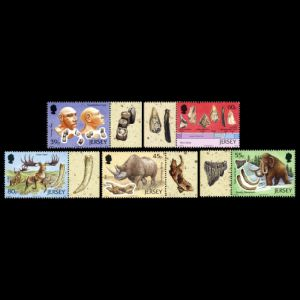 Archaeology, La Cotte de St Brelade, prehistoric animals, Flint Tools, anthropology, Neanderthals on stamps of Jersey 2010
