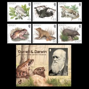 Charles Darwin on wood stamps of Jersey 2017
