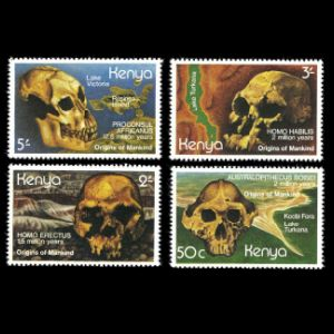 Fossil of prehistoric humans on stamps of Kenya 1982