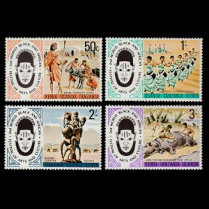 Stone age primitive mans butchering a Hippopotamus on stamps of Kenya 1977