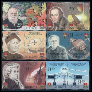 Charles darwin among other famous persons on stamps of Kiribati 2006