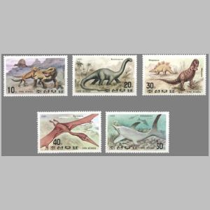 prehistoric animals and  dinosaurs on Fauna of Mesozoic stamps of North Korea 1991