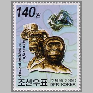 Prehistoric mans on stamp of North Korea 2006