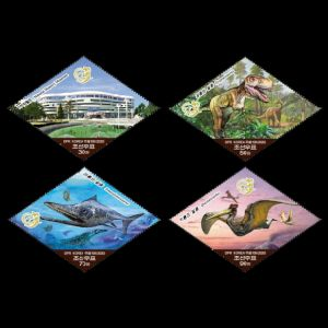 Dinosaurs, prehistoric animals and Natural History Museum on stamps of North Korea 2020