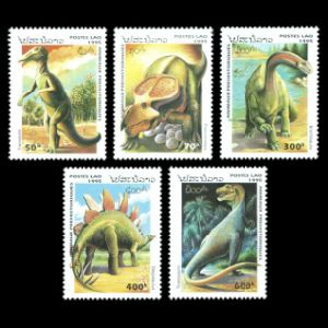 Dinosaurs and prehistoric animals on stamps of Laos 1995