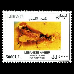 Insect in amber on stamp of Lebanon 2003