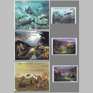 Dinosaurs and prehistoric animals on stamp of Lesotho 2005