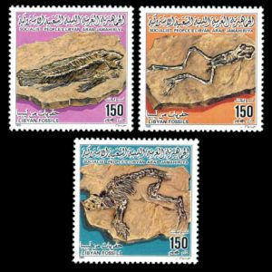 Fossils of Libya on stamps from 1985