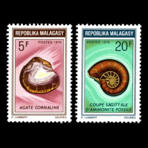 Ammonite in Semi-precious Stones set on stamps of Madagaskar 1970