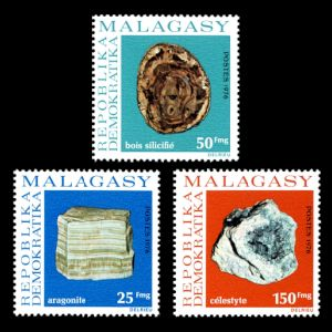 Petrified wood and minerals on stamp of madagascar 1976