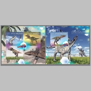 Dinosaurs on stamp of Maldives 2014