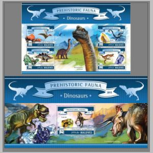 Dinosaurs on stamp of Maldives 2015