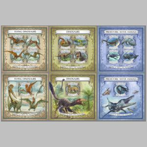 Dinosaurs and other prehistoric animals on stamps of Maldives 2017