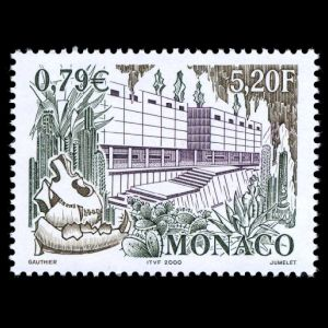 museum building, prehistoric animal fossils on stamp of Monaco 2000