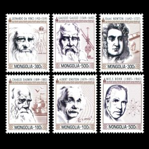 Charles Darwin among other famous Scientist on stamps of Mongolia 2014