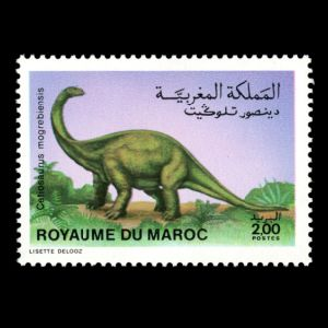 dinosaur on stamp of Morocco 1988