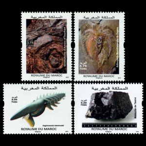 Fossil and Minerals on stamps of Morocco 2015