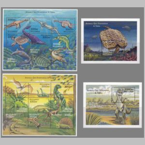 prehistoric animals on stamps and blocks of Mozambique 2000