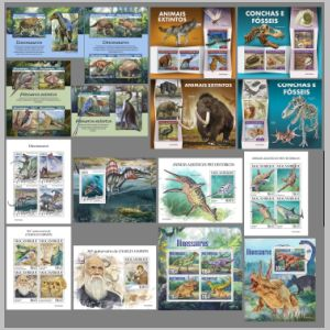 Dinosaurs and prehistoric animals on stamps of Mozambique 2019