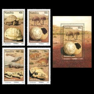 Fossils and reconstruction of prehistoric animals on stamps of Namibia 1995