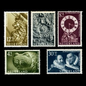 Fossil ammonite on International Congress of Museum Experts stamps of Netherland 1962