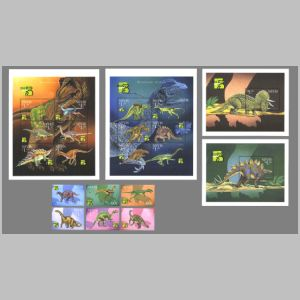 Dinosaurs and prehistoric animals on stamps of Nevis 1999
