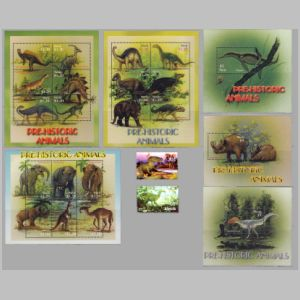 Dinosaurs and prehistoric animals on stamps of Nevis 2005