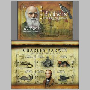 Charles Darwin on stamps of Nevis from 2009