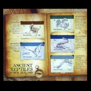 Prehistoric animals on stamps of New Zealand 1984
