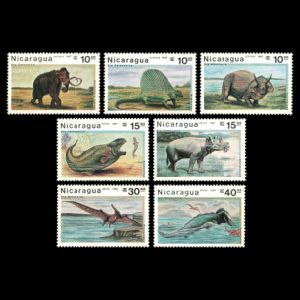 Prehistoric animals on stamps of Nicaragua 1987