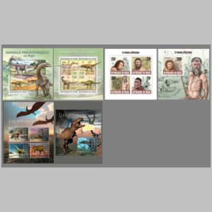 Prehistoric animals on stamps of Niger 2013
